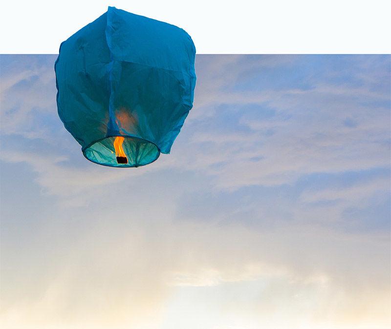 Paper Lantern in Sky